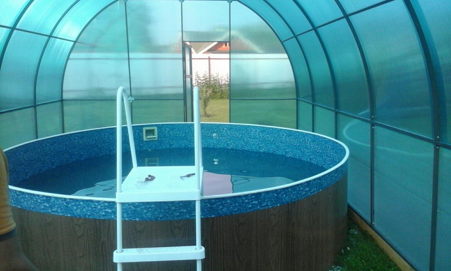 Павильон из поликарбоната для каркасного бассейна